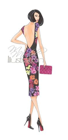 Fashion Illustration Print Cocktail of by MMichelIllustration