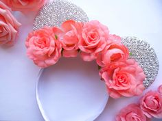 CORAL FLOWER CROWN SILVER MINNIE EARS ROSES FLORAL MINNIE MOUSE EARS HEN PARTY in Clothes, Shoes & Accessories, Fancy Dress & Period Costume, Fancy Dress | eBay!