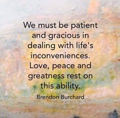 We must be patient and be gracious in dealing with life's inconveniences.  Love, peace and greatness rest on this ability.  #MondayMotivational