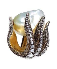 Sevan Bicakci Starfish & White Baroque South Sea Pearl Diamond Ring