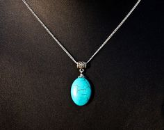 Turquoise Necklace Custom Initial Necklace by darlingnecklace