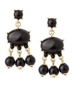 Cabochon Drop Earrings, Black by Neiman Marcus at Last Call by Neiman Marcus.