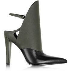Alexander Wang Lys polished and matte-leather ankle boot ($380) ❤ liked on Polyvore featuring shoes, boots, ankle booties, heels, army green, high heel boots, ankle boots, heeled ankle boots, high heel booties и leather boots