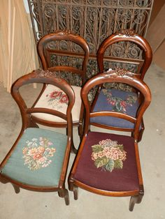 SET OF 4 MATCHING ANTIQUE NEEDLEPOINT PARLOUR CHAIRS #VICTORIAN