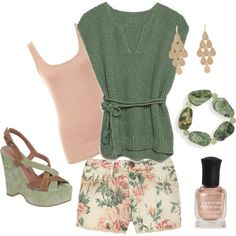 soft colors/floral shorts, created by tigerwoman37086 on Polyvore