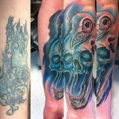 Color; cover up; skull; tattoo by Johnny Jinx at Broken Clover in Tucson, AZ