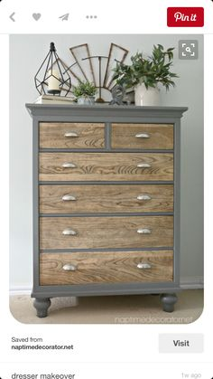 Gray and stain dresser