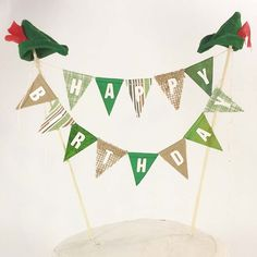 "Peter Pan Birthday Cake banner, Green ""Happy birthday"" cake bunting topper J144, Peter Pan birthday cake banner by Hartranftdesign on Etsy https://www.etsy.com/listing/252039136/peter-pan-birthday-cake-banner-green"