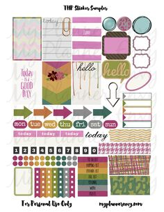 My Planner Envy: Various Colored Sticker Sampler - FREE PRINTABLE