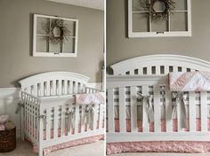 Country shabby chic girl nursery. Love the old window w/ wreath art. Great vintage-country style idea. But I like to hang softer art above a crib. You can never be too safe when it comes to baby. So hang heavy wall decor away from cribs, especially if you live where earthquakes are common.