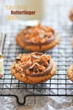 Chocolate Peanut Butter Butterfinger Cookies - by Confessions of a Cookbook Queen