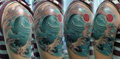 Japanese Wave Tattoo11 Small Japanese Tattoo, Japanese Wave Tattoos, Japanese Waves, Traditional Japanese Tattoos, Wave Tattoo Design, Tattoo Designs, Tattoo Ideas, Japanese History, Japanese Art