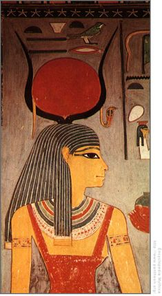 Isis, the main goddess of the Egyptian pantheon, is assoc. w/pharaohs & the Underworld. The throne sign is used in hieroglyphs to represent Isis. She is often associated w/the goddess Hathor, & as such is shown w/cow horns & a sun disk on her head & may have Hathor's sistrum or rattle. The ankh sign may also represent Isis as her girdle
