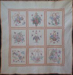 Amazing Handwork! Vintage 1940 Embroidered Flower Baskets QUILT 70x70 | eBay Embroidered Quilts, Embroidered Flowers, Flower Baskets, Basket Quilt, Blanket, Amazing, Ebay, Vintage, Blankets