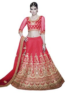 Shop Angelic Net Red Patch Border Work A Line Lehenga Choli Bridal/wedding wear lehenga online from India with free worldwide shipping offer