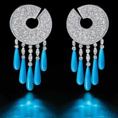 """Welcome to the """" Jewelry Planet"""". all about Precious and Semi precious jewelry and stones. Blue Earrings, Turquoise Earrings, Drop Earrings, Gold Jewelry, Jewelery, Jewelry Sets, Jewelry Making, Turquoise Accessories, Fashion Accessories"""