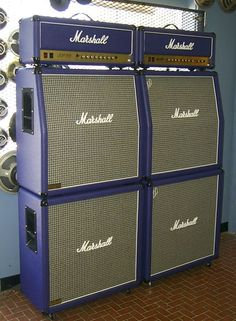 Purple Marshall amps and speakers Fender Stratocaster, Gretsch, Marshall Guitar, Marshall Amplification, Valve Amplifier, Wall Of Sound, Bass Amps, Kiesel, Cool Gear