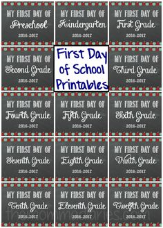 First Day of School FREE Printables, back-to-school printables, free printables…