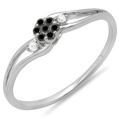 0.10 Carat (ctw) 14k White Gold White And Black Diamond Swirl Split Shank Cluster Promise Ring 1/10 CT -- Insider's special review you can't miss. Read more  : Promise Rings
