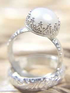 Pearl Wedding Ring Set  Eco Friendly Floral