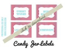 Free Candy Buffet Circus Party Theme Printables