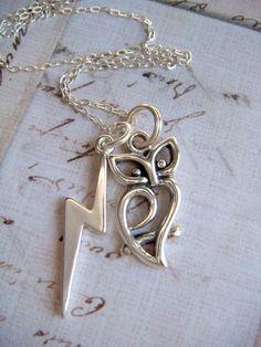$35 Hedwig/lightning scar necklace! beautiful