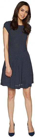 dress with fine all-over print for women (patterned, extra-short sleeves and crew neck) - TOM TAILOR