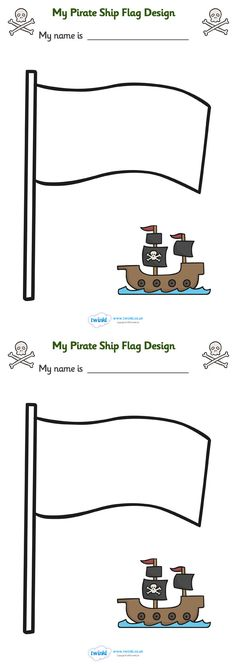 Twinkl Resources >> Design Your Own Ship Flag Worksheet >> Classroom printables for Pre-School, Kindergarten, Primary School and beyond! worksheet, flag design, flag, design worksheets, flag template, pirate, pirate worksheet,
