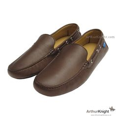 Brown Leather Italian Mens Driving Shoes by Arthur Knight