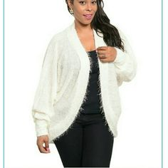Plus size cocoon sweater cardigan plus size new Plus size cocoon sweater. Ivory Open front. loose dolman sleeves knit sweater with built in sequin in fabric. So Soft feel. Fabric Content : 100 % polyester  》》》Price is firm unless bundled. Boutique  Sweaters Cardigans