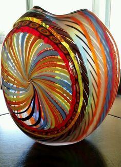 Massimiliano Schiavon Hand-Blown Murano Glass Vessel. Hand signed 1/1 Italy