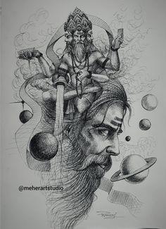 Unique Drawings, Art Drawings Sketches, Cute Drawings, Hanuman Tattoo, Ganesha Tattoo, Lion Head Tattoos, God Tattoos, Shiva Sketch, Shiva Tattoo Design