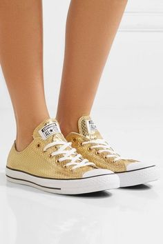 Converse - Chuck Taylor All Star Metallic Snake-effect Leather Sneakers - Gold