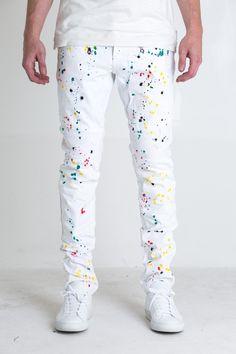 "- White biker denim - Multi-color paint splatter - 100% cotton - Skinny fit - 34"" standard inseam FIT GUIDE: Denim runs true to size. Model 6'4   185 lbs   size 32"