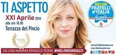 Da una Mamma rinasce #Roma Ti aspetto giovedi 21 aprile alle 18 alla Terrazza del Pincio per l'apertura della campagna elettorale #natalediroma #melonisindaco  Non mancare PARTIAMO INSIEME