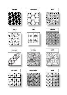 Zentangle Pattern Sheet 9 Patterns: Beeline, Y-Ful Power, Bales, Carp 3, Flore, Navaho, Chainlea, Afterglo, Web, Buttercup, Heartstrings, Ilana