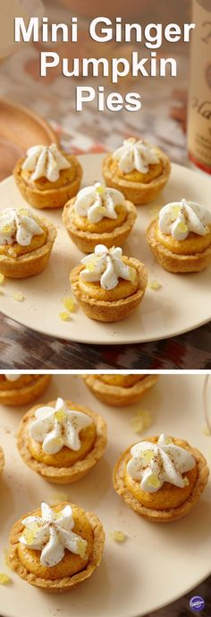 Mini Ginger Pumpkin Pie Recipe - These bite-sized treats put a twist on the traditional pumpkin pie - the filling and whipped cream are spiked with Tito's Handmade Vodka and topped with crystallized ginger. Pair this pie with Tito's The Buzzed Pumpkin cocktail, for the ultimate pumpkin-flavored indulgence. Perfect to make to welcome the fall season!