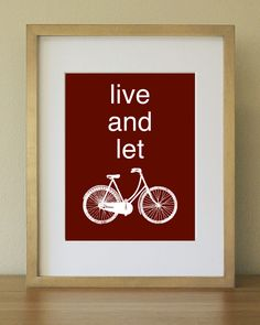 Colorful Bike Art Print. Dorm Decor. Home Office. Burgundy, oxblood red. 8 x 10. $15.00, via Etsy.