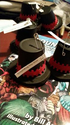 Girl Scout SWAPS for Groundhog Day. Feb. 2nd. K-Cup painted on foam round. Add tag and ribbon.