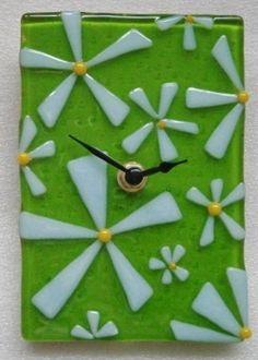 Fused glass spring flowers clock £50.00
