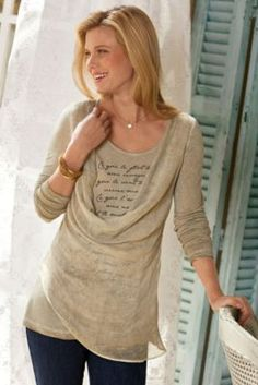 Love Letter Top - Soft Knit Top, Asymmetrical Blouse, Ladies Long Sleeve Top | Soft Surroundings#BVRRWidgetID