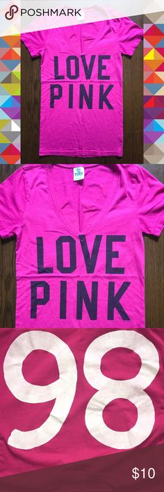 Women's Small VS PINK Graphic Tee Shirt $12.00  Or Best Reasonable offer unless otherwise stated.   Size: women's Small  Brand: Victoria's Secret, pink by vs  Condition: good used  Details: vibrant pink tee with v neck design. Says love PINK across front in black and the number 86 on the back in white. Shirt does show signs of piling and Graphic fade. It doesn't have any holes or stains present. PINK Victoria's Secret Tops Tees - Short Sleeve