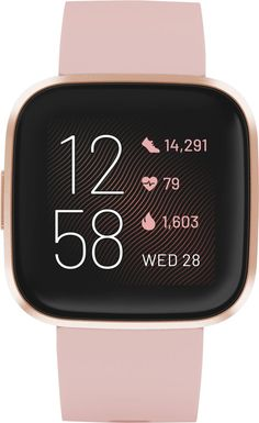 Shop Fitbit Versa 2 Smartwatch Aluminum Petal/Copper Rose with Silicone Band at Best Buy. Find low everyday prices and buy online for delivery or in-store pick-up. Stylish Watches, Cool Watches, Smartwatch, Pandora Stations, Fitbit App, Bluetooth, Bridal Shower Gifts For Bride, Ios, Android