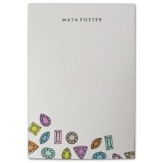 Colorful Gems (Large) - Ivory background Post-it® Notes.  Personalize with your text for free or leave blank.