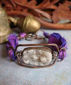 crystal with sari silk bracelet