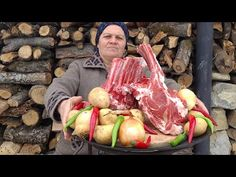 Sac Kebabı, Traditional Beef Steak Kebab on Sadj Grill, Outdoor Cooking - YouTube Beef Steak, Outdoor Cooking, Street Food, Carne, Sausage, Grilling, Cooking Recipes, Meat, Country Life