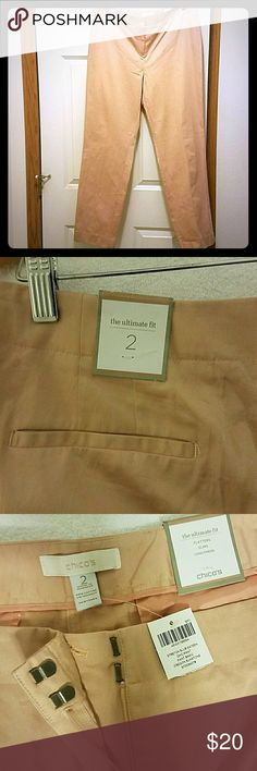 NEW Chico's the ultimate fit pants Very pretty rose gold color..it's actually called Oregon Sunstone by Chico's..brand new tags are on the pants..stretch slub sateen Chico's Pants