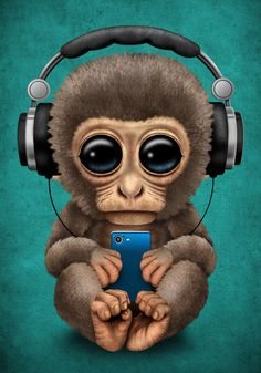 Cute Baby Monkey With Cell Phone Wearing Headphones Blue Bed Throw Blanket by Jeff Bartels - x Blanket Phone Wallpaper Images, Cool Wallpapers For Phones, Cute Wallpapers, Phone Wallpapers, Screen Wallpaper, Wallpaper Quotes, Wallpaper Backgrounds, Blue Framed Art, Blue Art