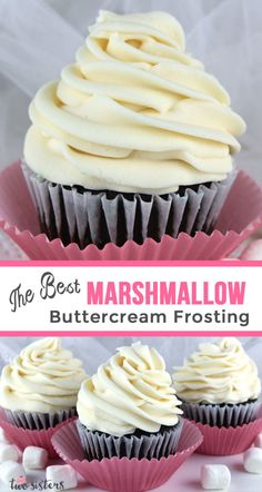 The Best Marshmallow Buttercream Frosting Best Marshmallow Buttercream Frosting - a sweet and creamy marshmallow buttercream frosting that tastes just like the inside of a Hostess Ding Dong. This yummy homemade butter cream frosting is great on top of a Mini Cakes, Cupcake Cakes, Best Frosting For Cupcakes, Cream Filling For Cupcakes, Buttercream Cupcakes, Buttercreme Frosting, Buttercream Ideas, Maple Buttercream, Maple Frosting