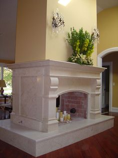 not marble and much smaller French Country Fireplace, Fireplace Mantel Surrounds, Marble Fireplace Mantel, Stone Fireplace Mantel, Double Sided Fireplace, Brick Fireplace Makeover, Limestone Fireplace, Fireplace Remodel, Fireplace Ideas